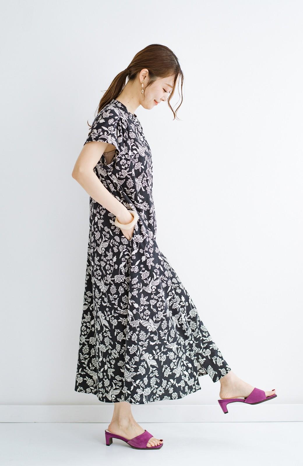 haco! 京都の浴衣屋さんと作った浴衣生地の羽織ってもかわいいロングワンピース <ブラック系その他>の商品写真18