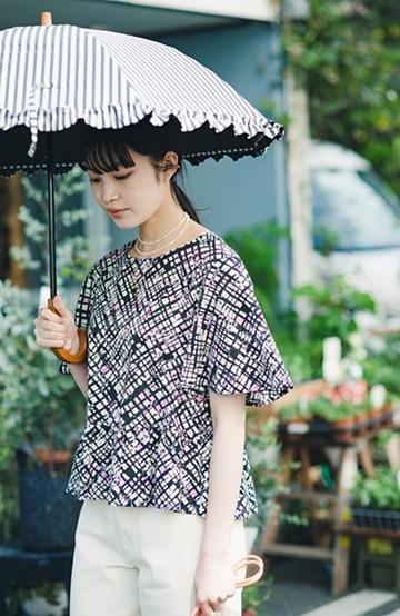 haco! 京都の浴衣屋さんと作った浴衣生地のフレアースリーブブラウス <ブラック系その他>の商品写真