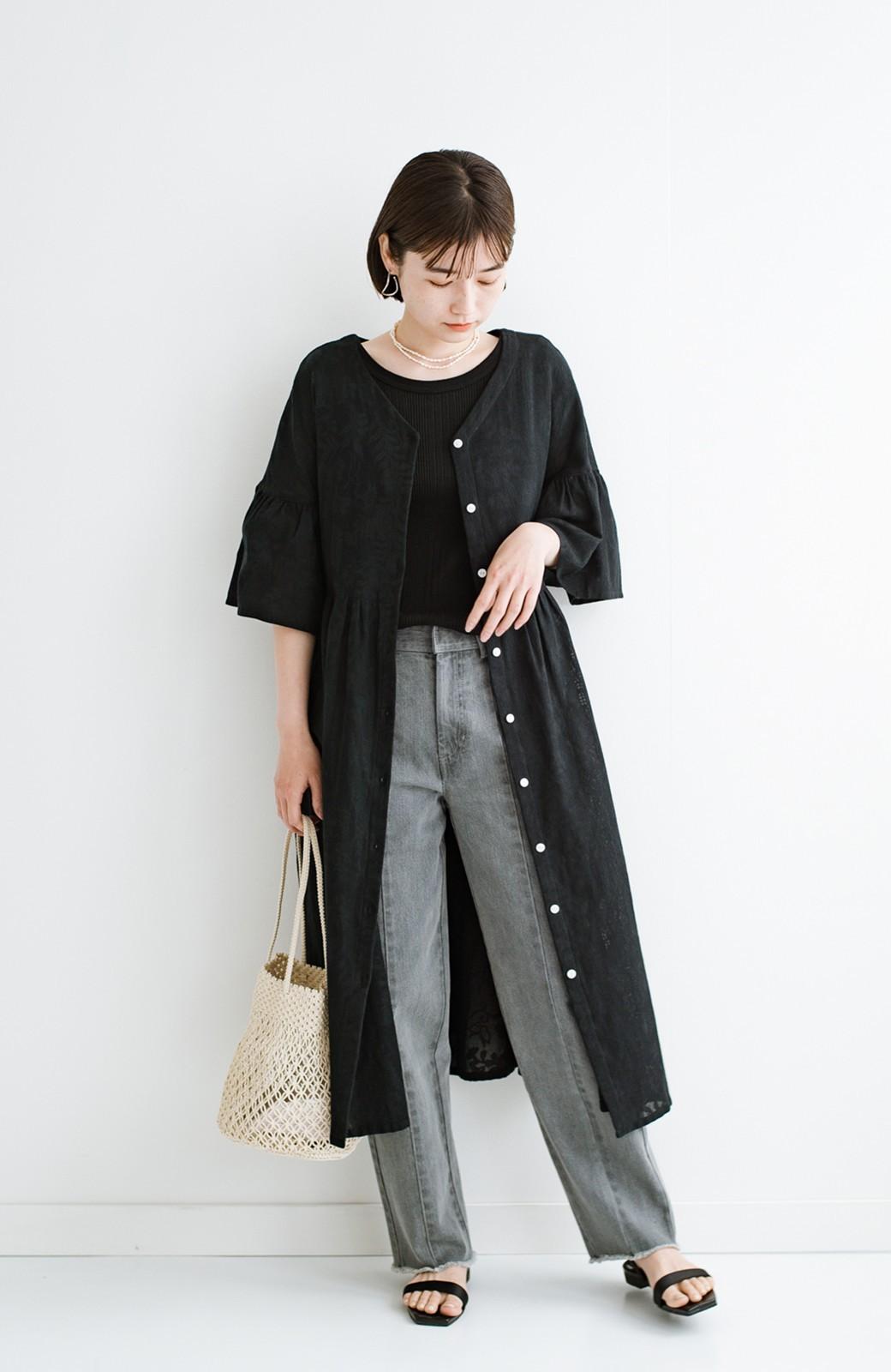 haco! 京都の浴衣屋さんと作った浴衣生地の羽織りにもなるワンピース <ブラック>の商品写真20