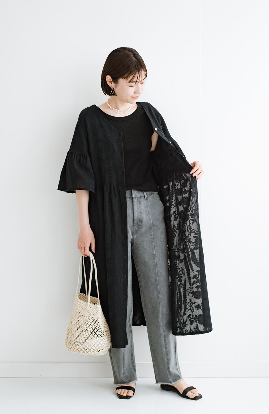 haco! 京都の浴衣屋さんと作った浴衣生地の羽織りにもなるワンピース <ブラック>の商品写真21