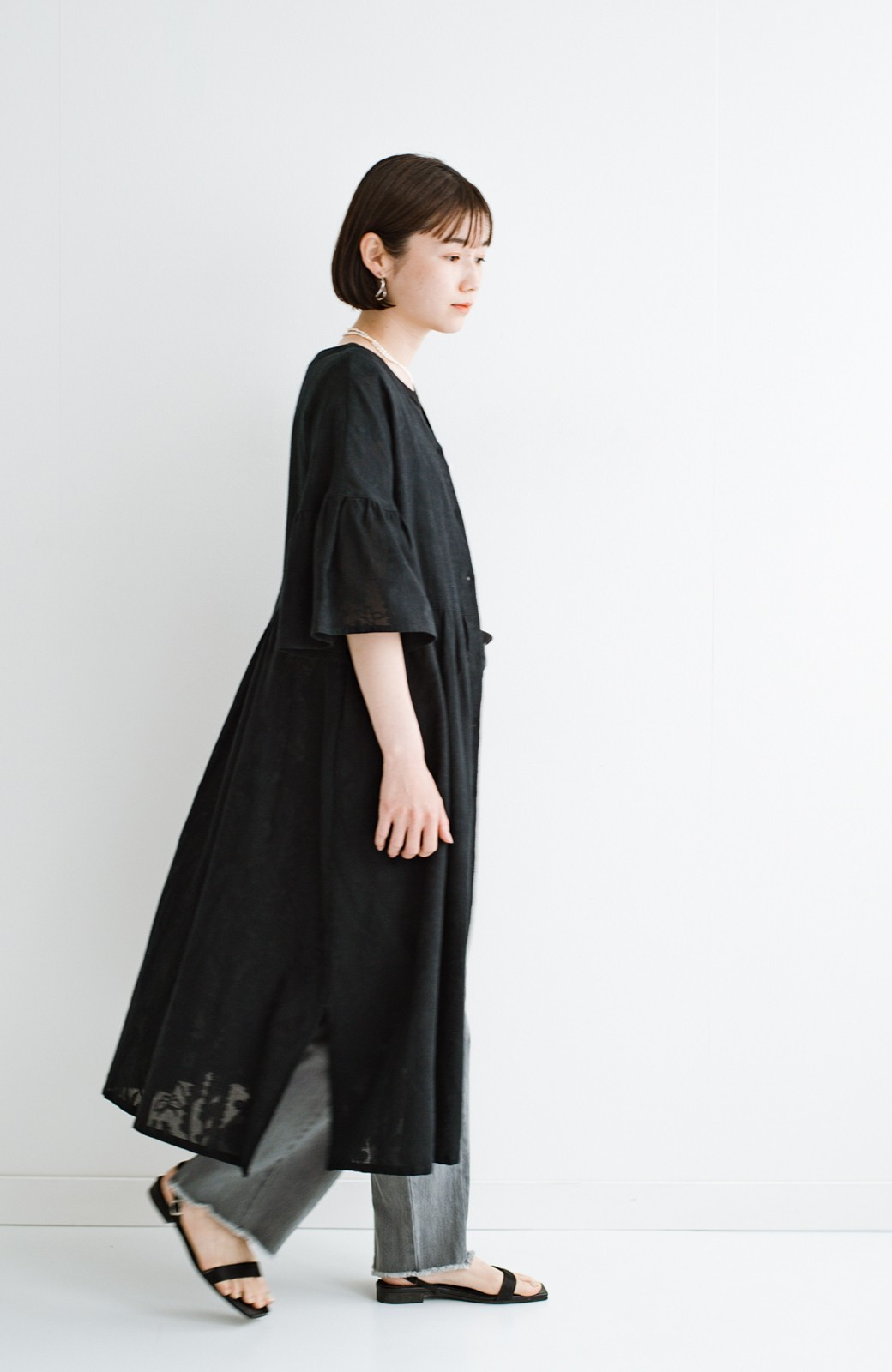 haco! 京都の浴衣屋さんと作った浴衣生地の羽織りにもなるワンピース <ブラック>の商品写真22