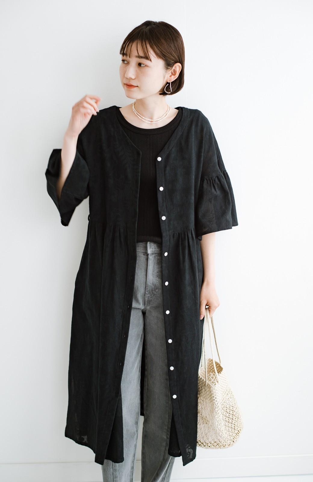 haco! 京都の浴衣屋さんと作った浴衣生地の羽織りにもなるワンピース <ブラック>の商品写真6