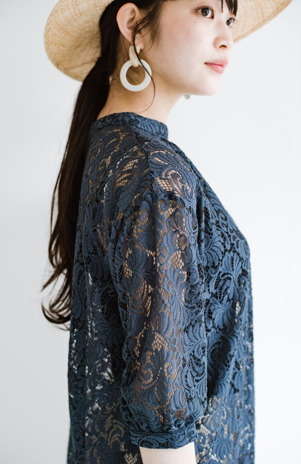 haco! (φ)デニムに合わせても女っぽい 古着屋さんにありそうな可愛げレースのスタンドカラーブラウス <グレイッシュブルー>の商品写真10