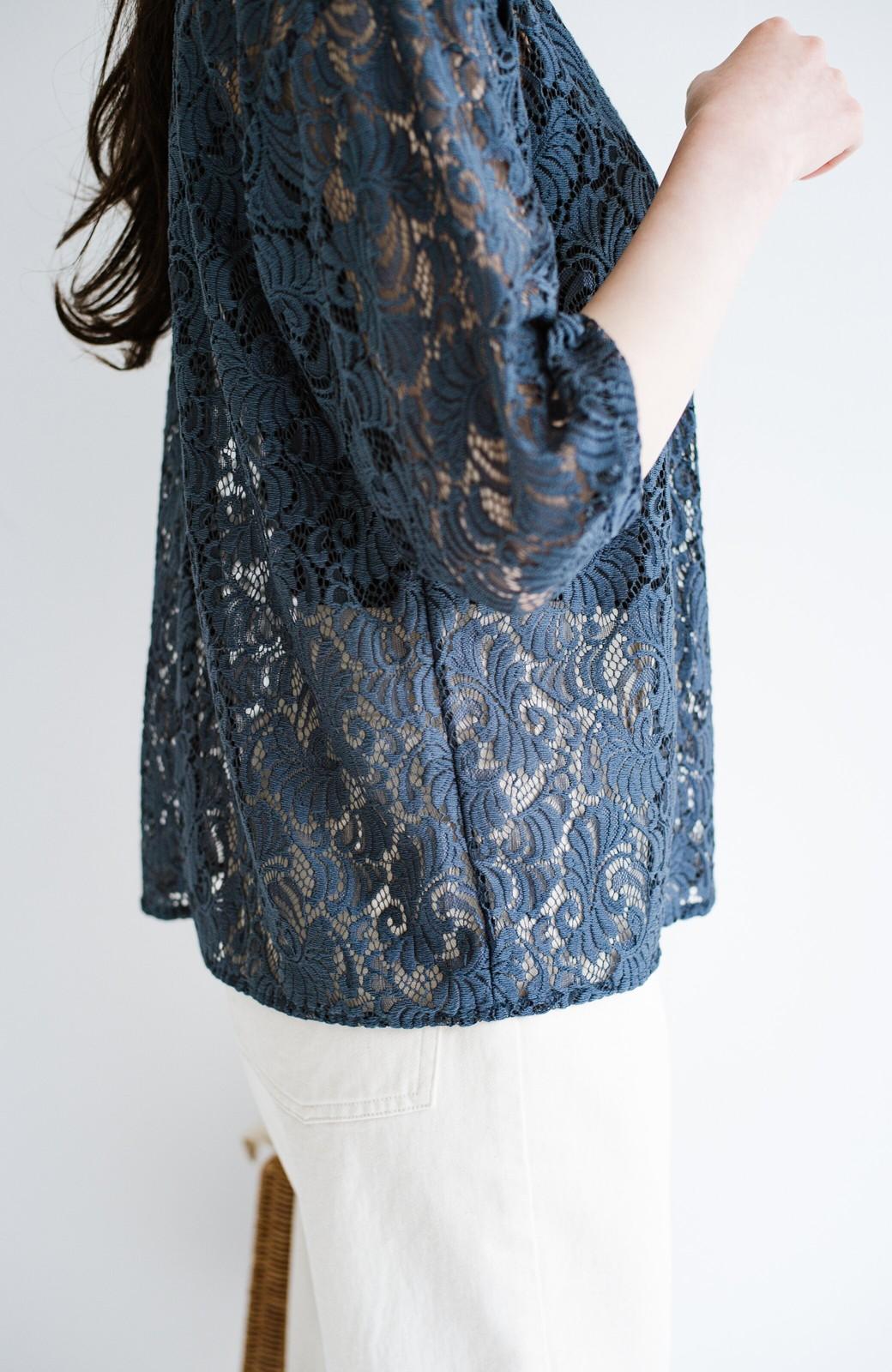 haco! (φ)デニムに合わせても女っぽい 古着屋さんにありそうな可愛げレースのスタンドカラーブラウス <グレイッシュブルー>の商品写真11