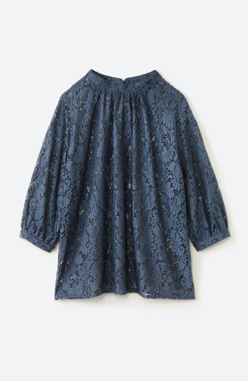 haco! (φ)デニムに合わせても女っぽい 古着屋さんにありそうな可愛げレースのスタンドカラーブラウス <グレイッシュブルー>の商品写真5