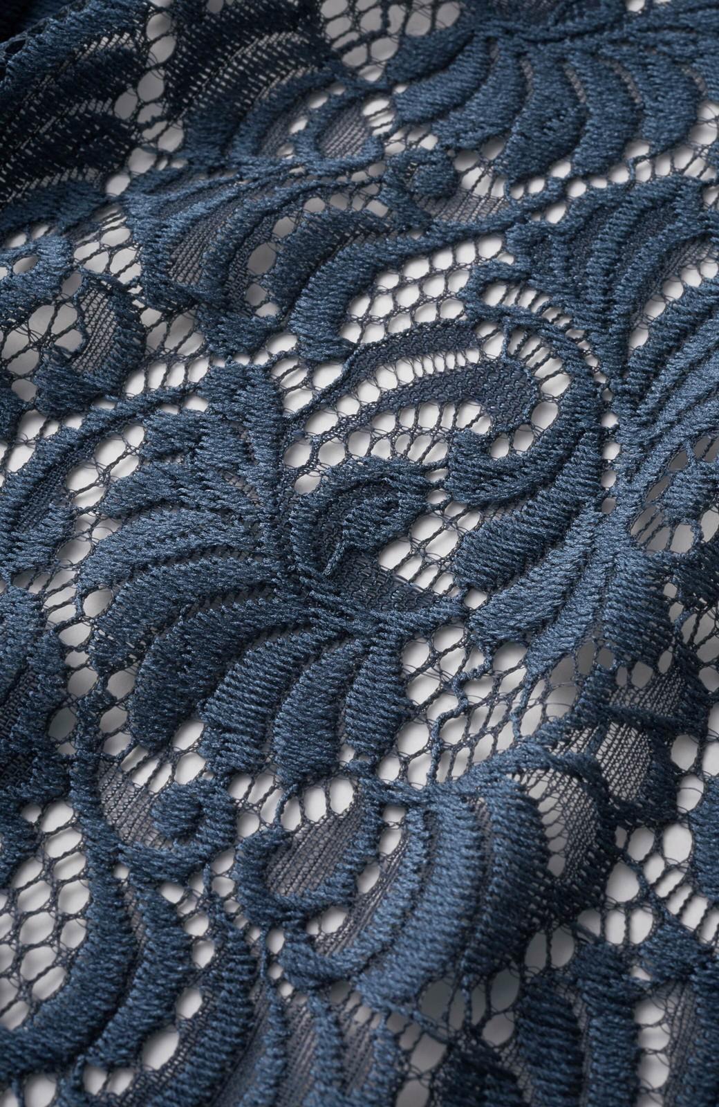 haco! (φ)デニムに合わせても女っぽい 古着屋さんにありそうな可愛げレースのスタンドカラーブラウス <グレイッシュブルー>の商品写真13