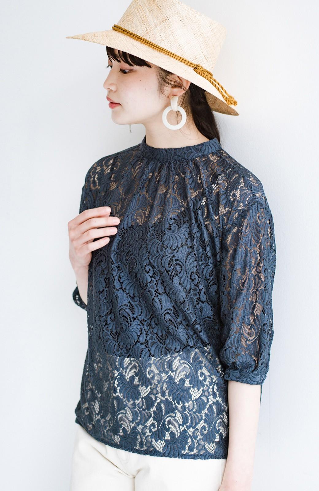 haco! (φ)デニムに合わせても女っぽい 古着屋さんにありそうな可愛げレースのスタンドカラーブラウス <グレイッシュブルー>の商品写真15
