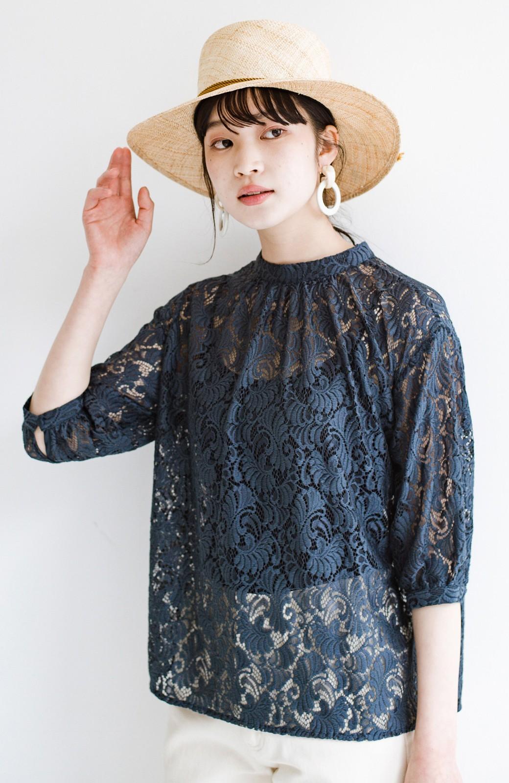 haco! (φ)デニムに合わせても女っぽい 古着屋さんにありそうな可愛げレースのスタンドカラーブラウス <グレイッシュブルー>の商品写真12
