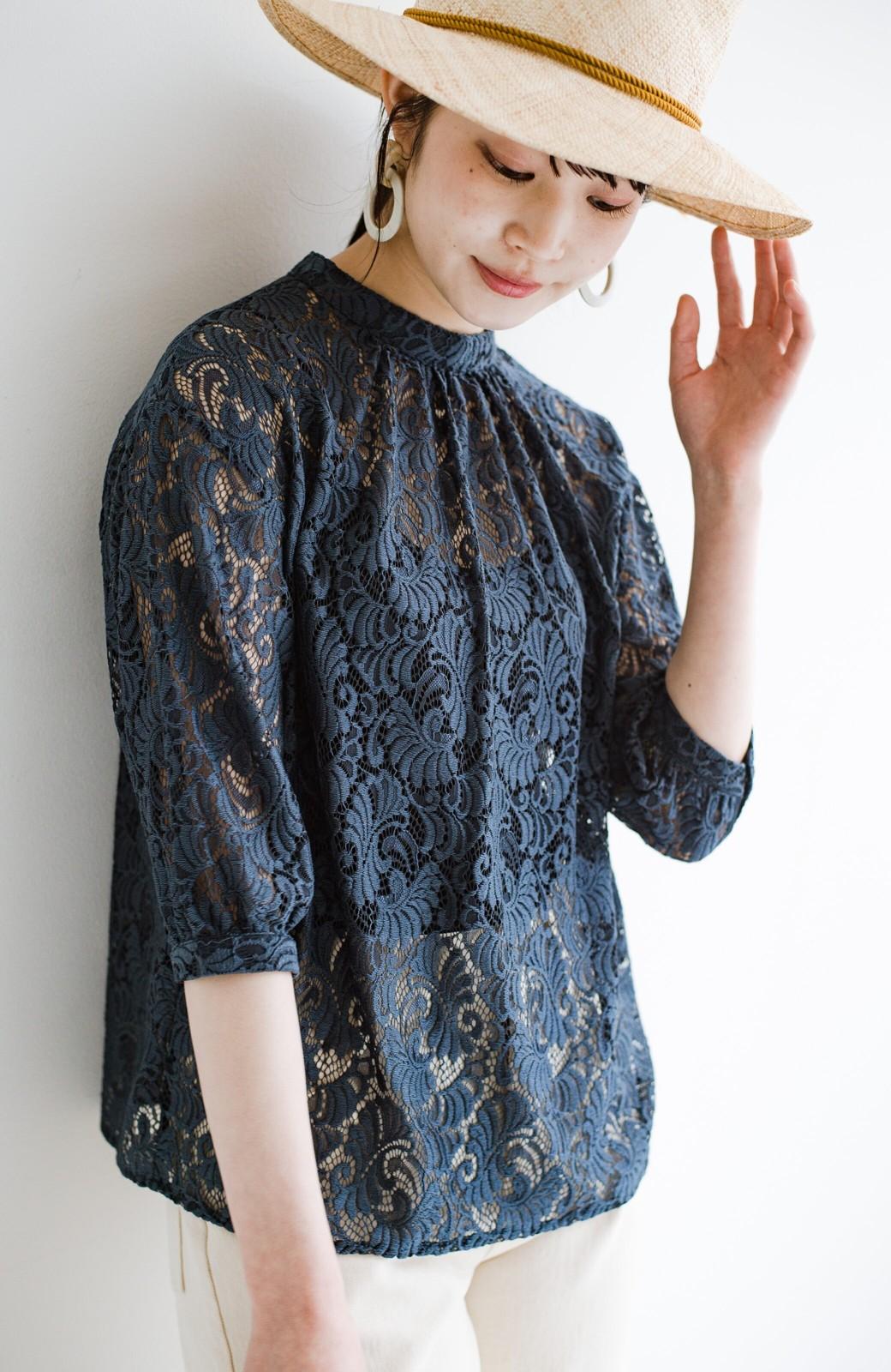 haco! (φ)デニムに合わせても女っぽい 古着屋さんにありそうな可愛げレースのスタンドカラーブラウス <グレイッシュブルー>の商品写真22