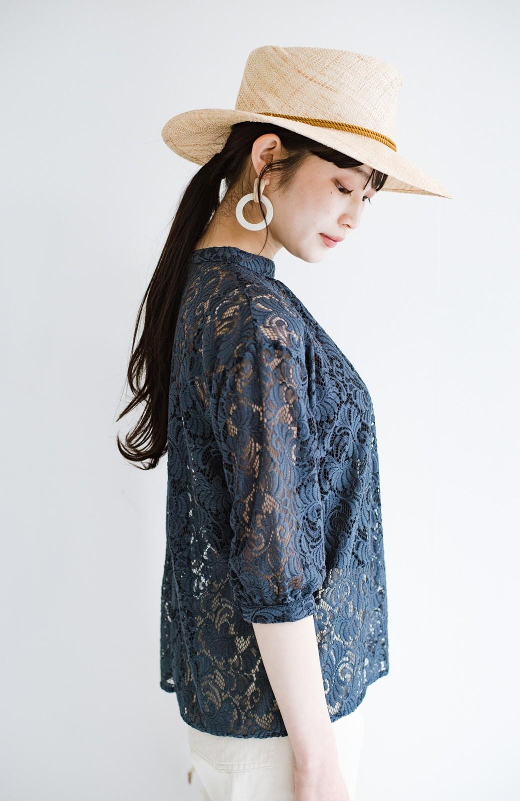 haco! (φ)デニムに合わせても女っぽい 古着屋さんにありそうな可愛げレースのスタンドカラーブラウス <グレイッシュブルー>の商品写真23