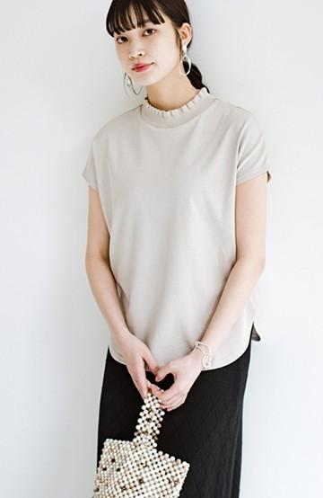 haco!  【新色登場!】パッと着てさっとかわいくなれちゃう!フリルリブモックネックTシャツ <ライトグレー>の商品写真