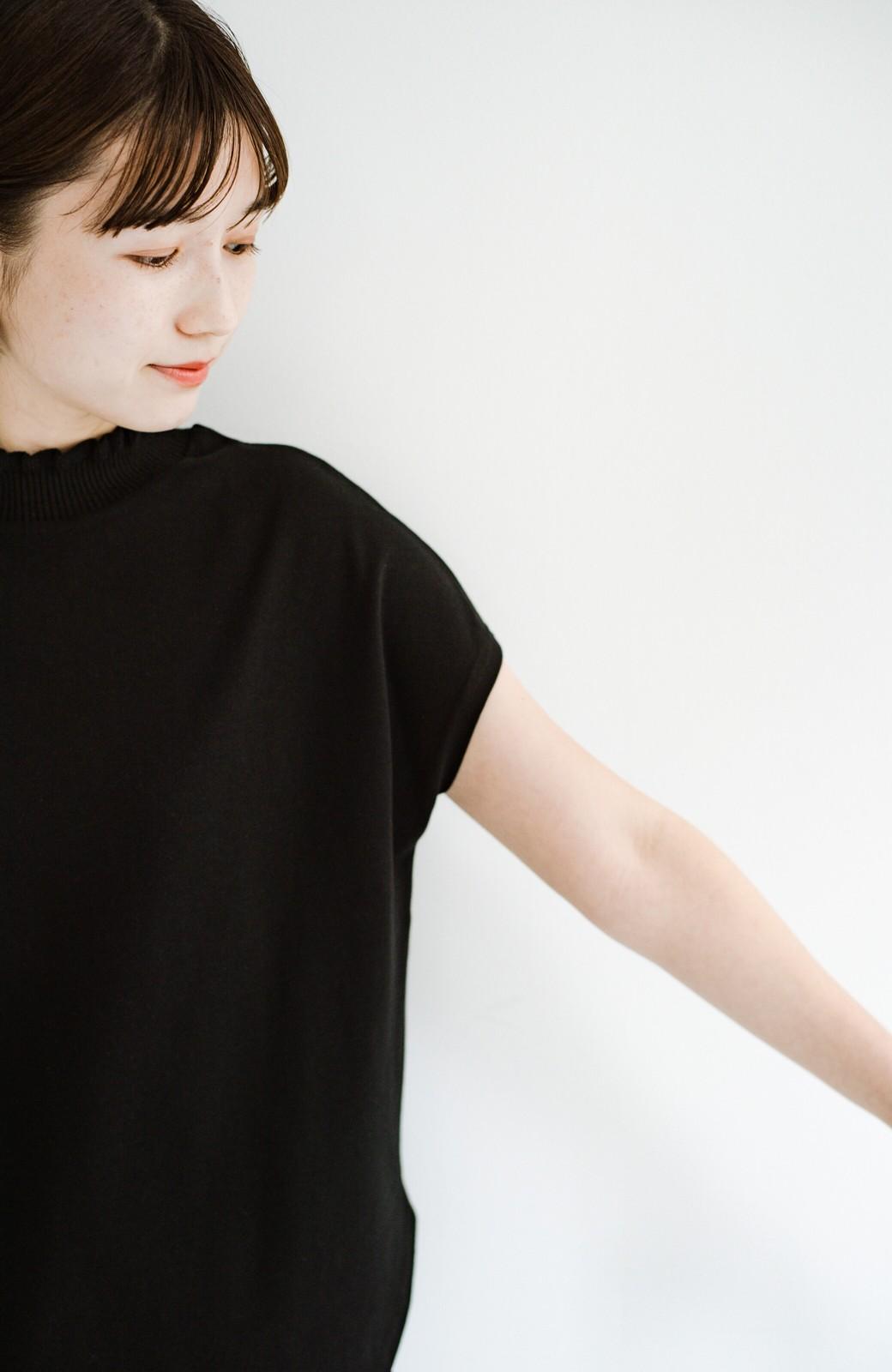 haco!  パッと着てさっとかわいくなれちゃう!フリルリブモックネックTシャツ <ブラック>の商品写真7