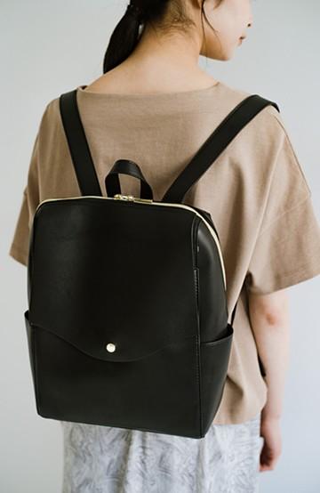 haco! Legato Largo かるいかばんシリーズ 軽量ボンディングフェイクレザー リュック <ブラック>の商品写真