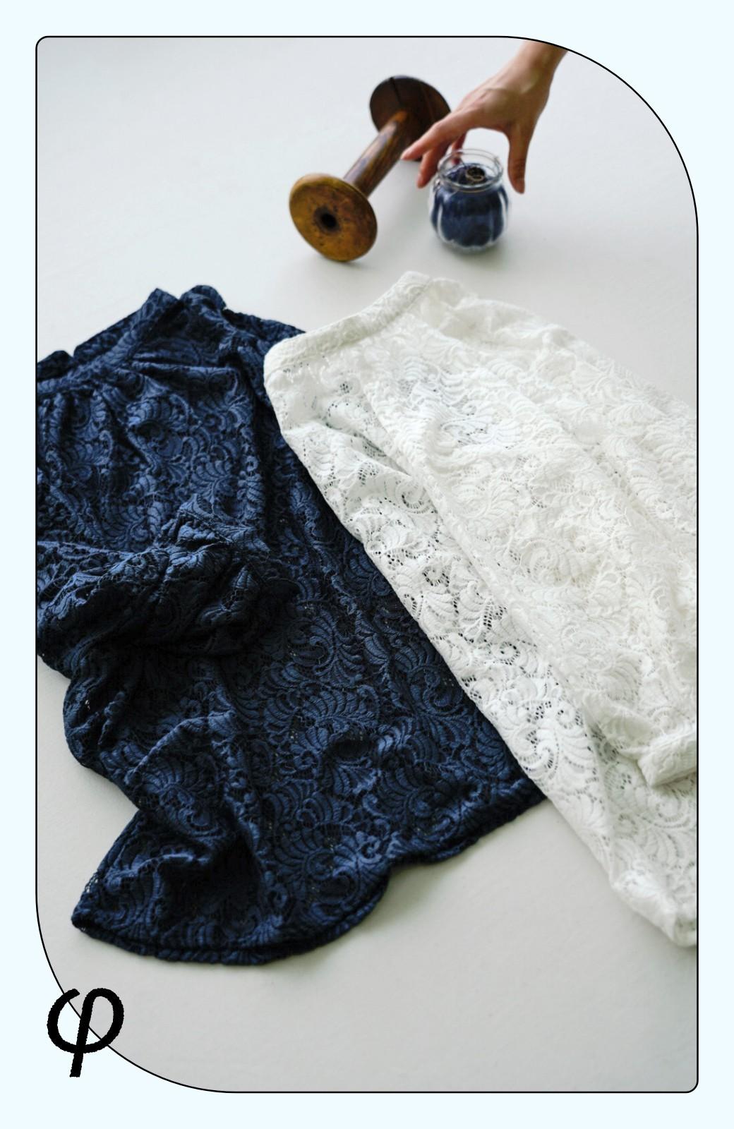haco! (φ)デニムに合わせても女っぽい 古着屋さんにありそうな可愛げレースのスタンドカラーブラウス <グレイッシュブルー>の商品写真2