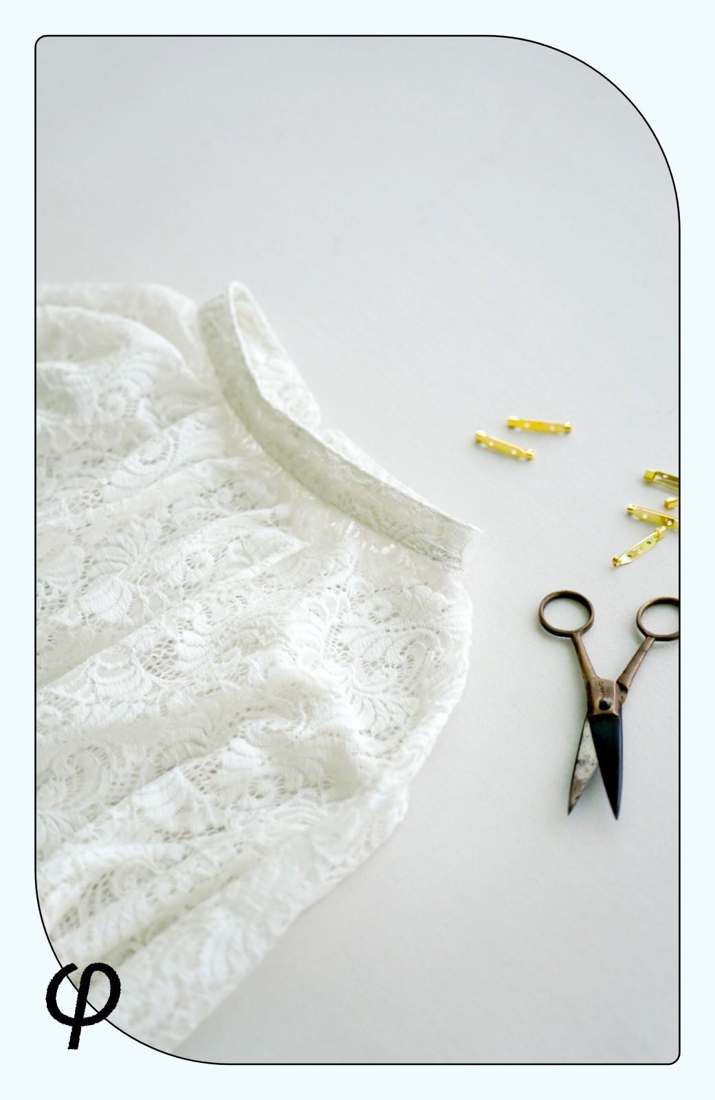 haco! (φ)デニムに合わせても女っぽい 古着屋さんにありそうな可愛げレースのスタンドカラーブラウス <グレイッシュブルー>の商品写真3