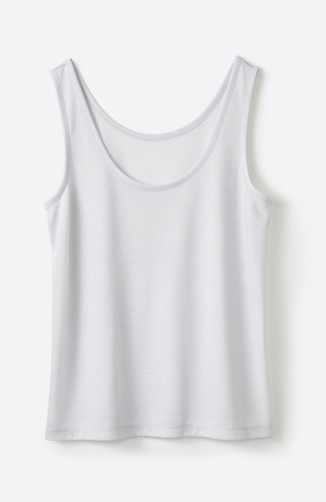 haco! 上品な透け感が華やぎをプラスしてくれるシフォントップス&ノースリーブカットソーセット <ライトグレー>の商品写真5