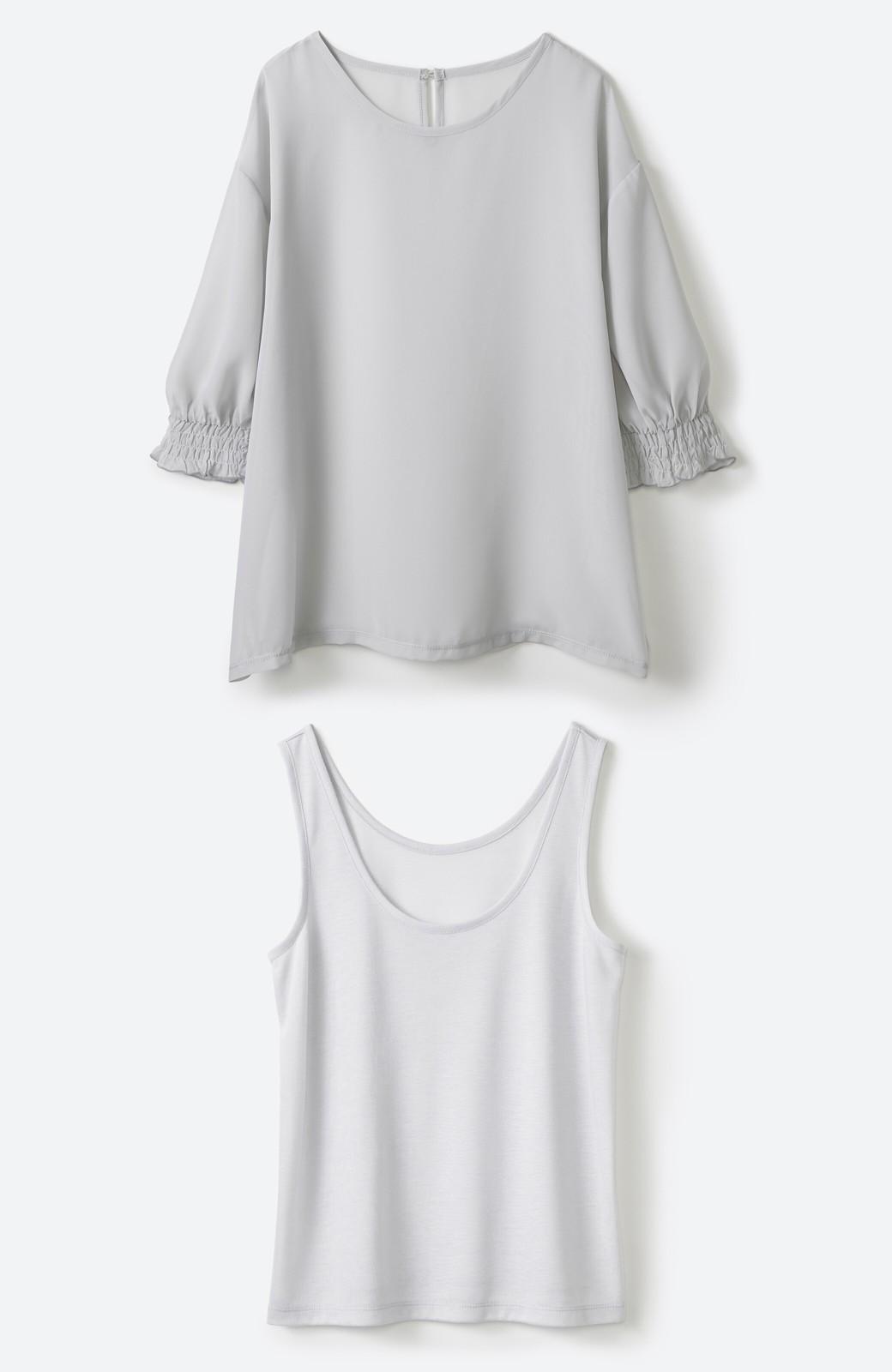 haco! 上品な透け感が華やぎをプラスしてくれるシフォントップス&ノースリーブカットソーセット <ライトグレー>の商品写真23