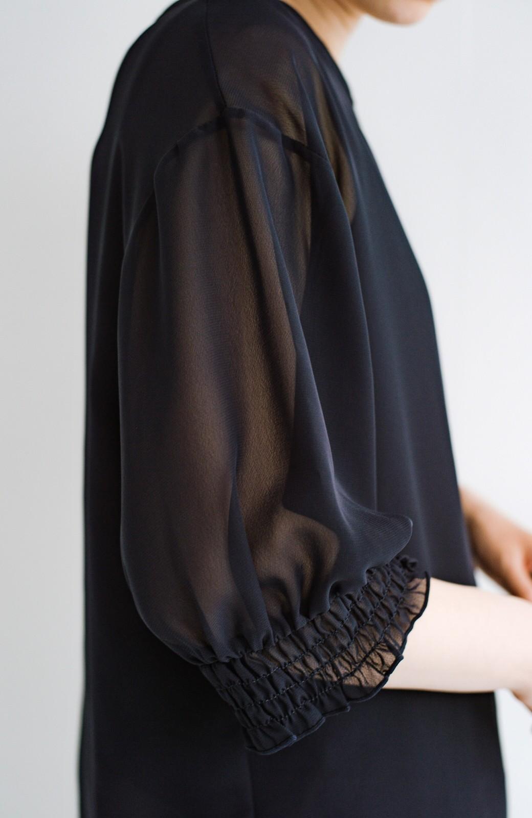 haco! 上品な透け感が華やぎをプラスしてくれるシフォントップス&ノースリーブカットソーセット <ダークネイビー>の商品写真9