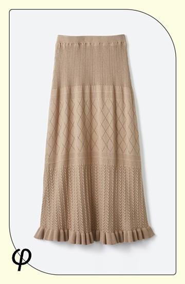 haco! (φ)Tシャツにもスウェットにも!裏地付きで長く着られる透かし編みニットスカート <カーキブラウン>の商品写真