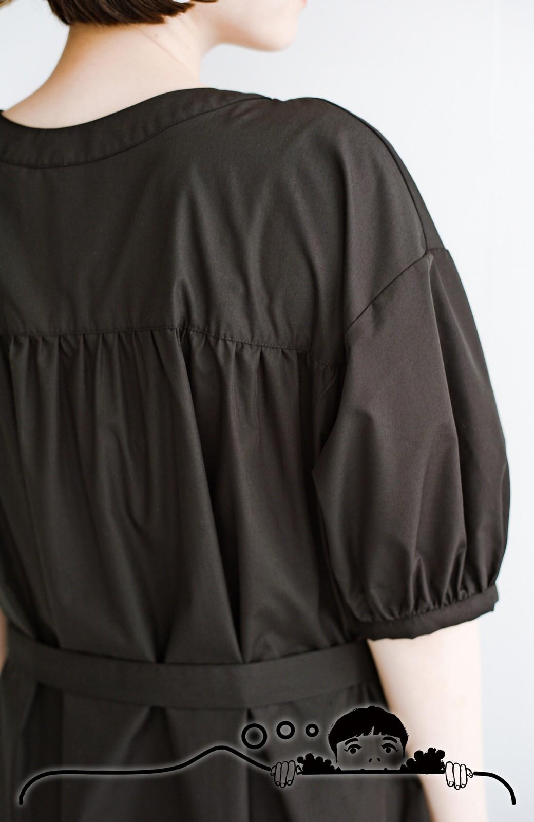 haco! 前後で着られて羽織りとしても便利! いつものパンツに重ねて着まわし上手になれるシャツワンピースby who made me <ブラック>の商品写真5