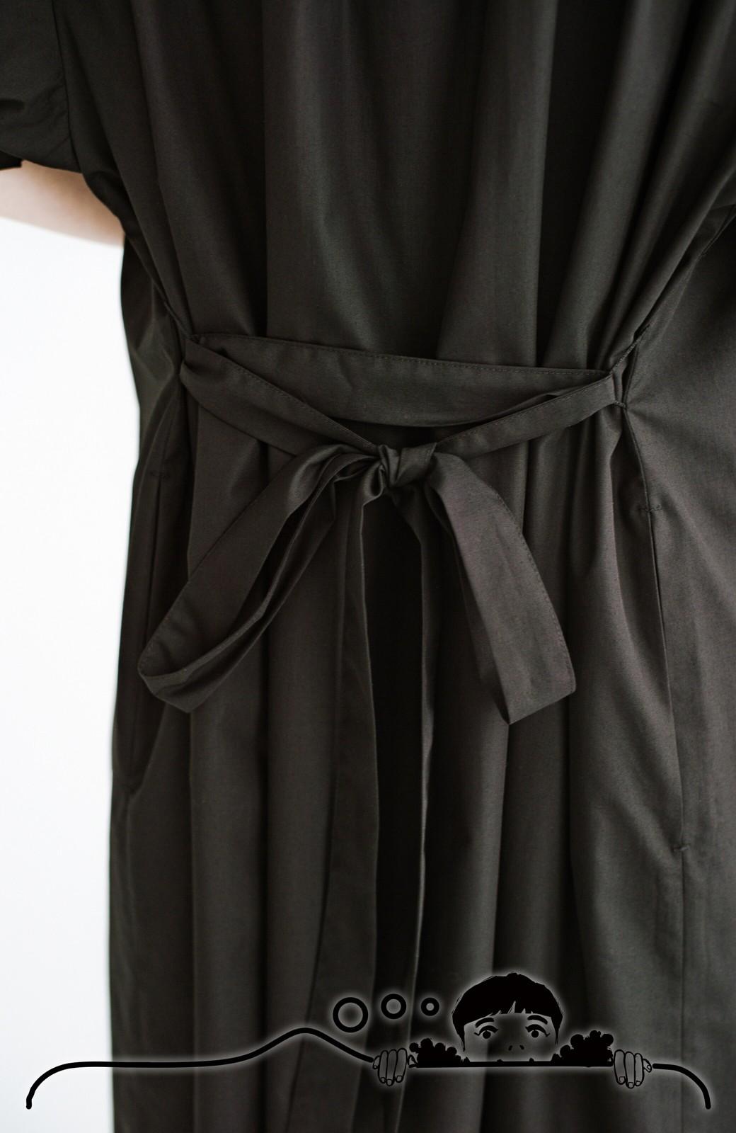 haco! 前後で着られて羽織りとしても便利! いつものパンツに重ねて着まわし上手になれるシャツワンピースby who made me <ブラック>の商品写真8