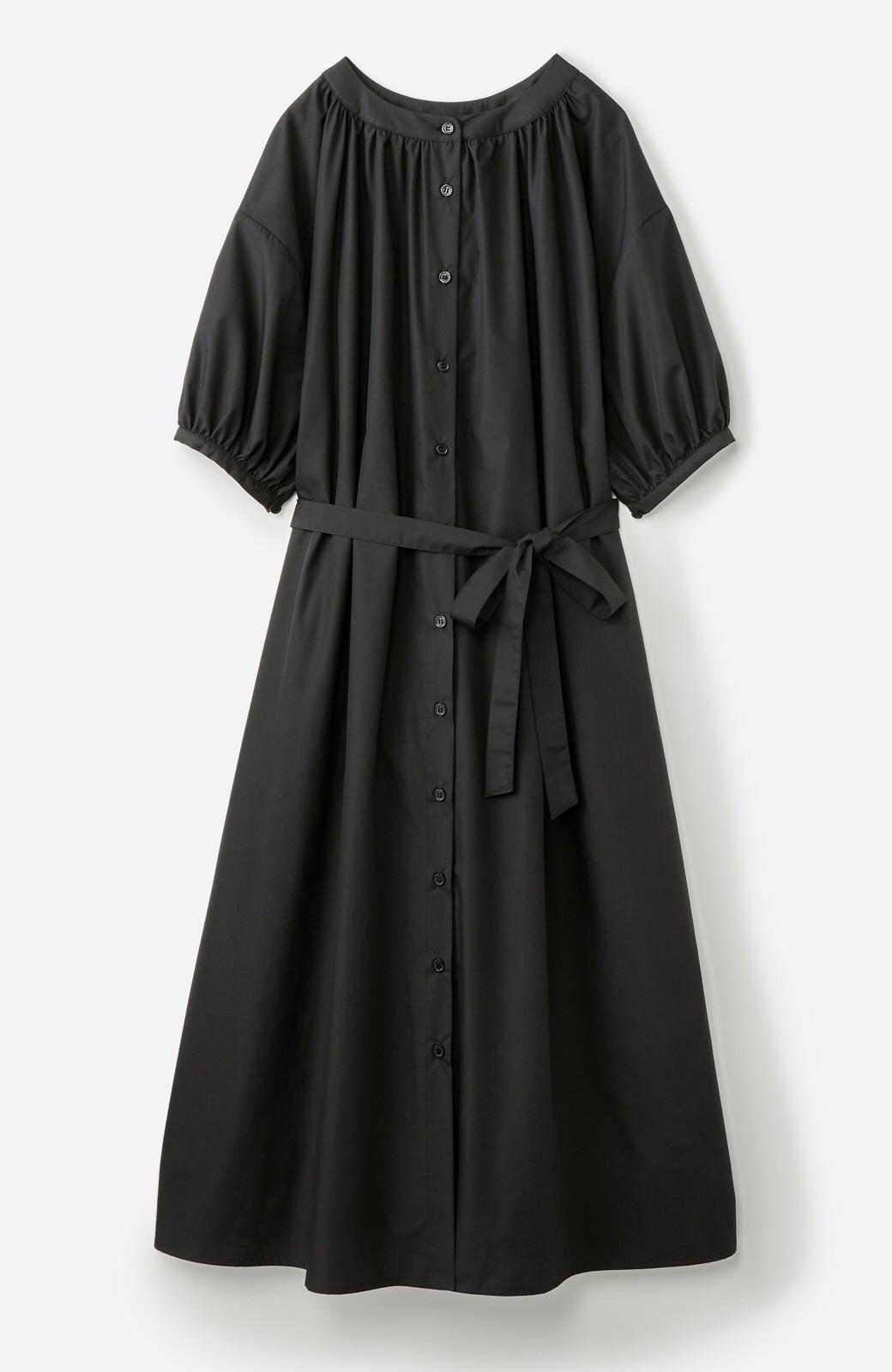 haco! 前後で着られて羽織りとしても便利! いつものパンツに重ねて着まわし上手になれるシャツワンピースby who made me <ブラック>の商品写真22