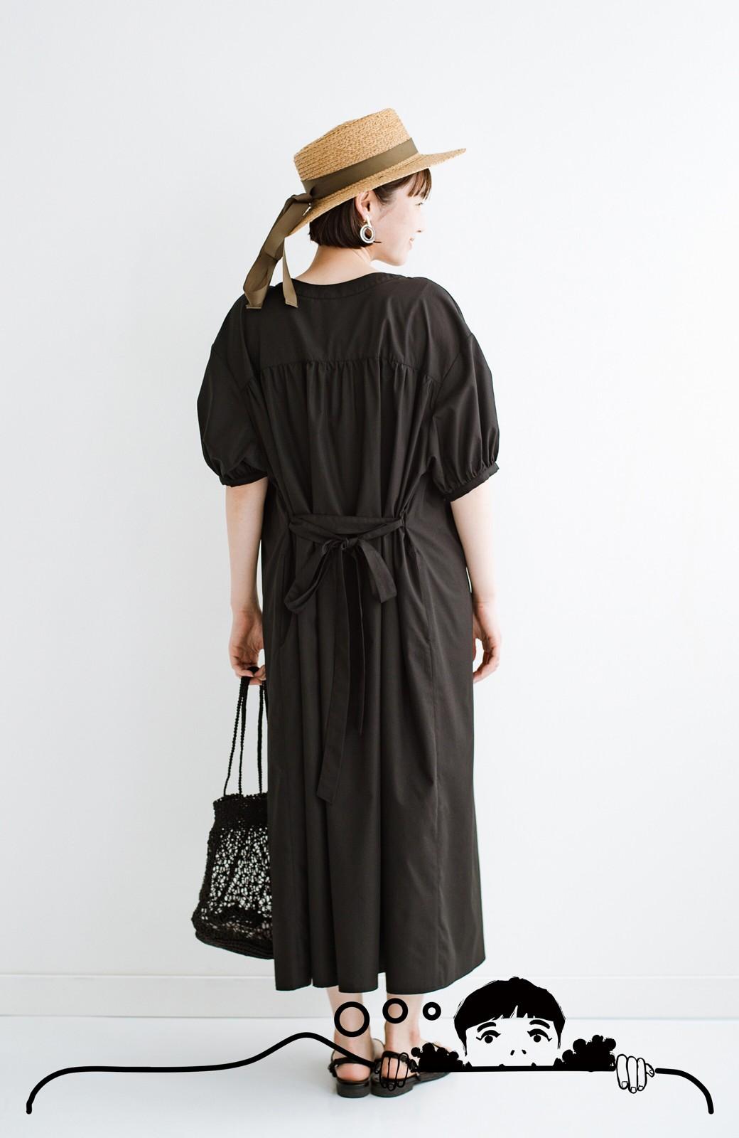 haco! 前後で着られて羽織りとしても便利! いつものパンツに重ねて着まわし上手になれるシャツワンピースby who made me <ブラック>の商品写真16