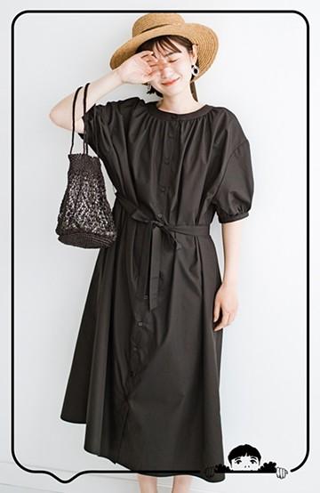 haco! 前後で着られて羽織りとしても便利! いつものパンツに重ねて着まわし上手になれるシャツワンピースby who made me <ブラック>の商品写真