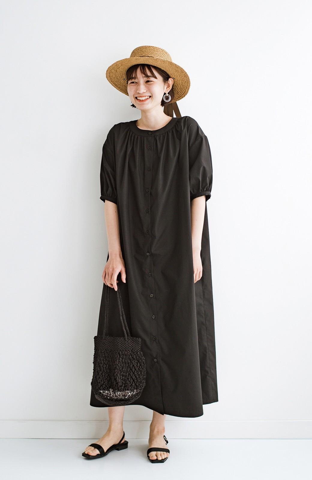 haco! 前後で着られて羽織りとしても便利! いつものパンツに重ねて着まわし上手になれるシャツワンピースby who made me <ブラック>の商品写真28