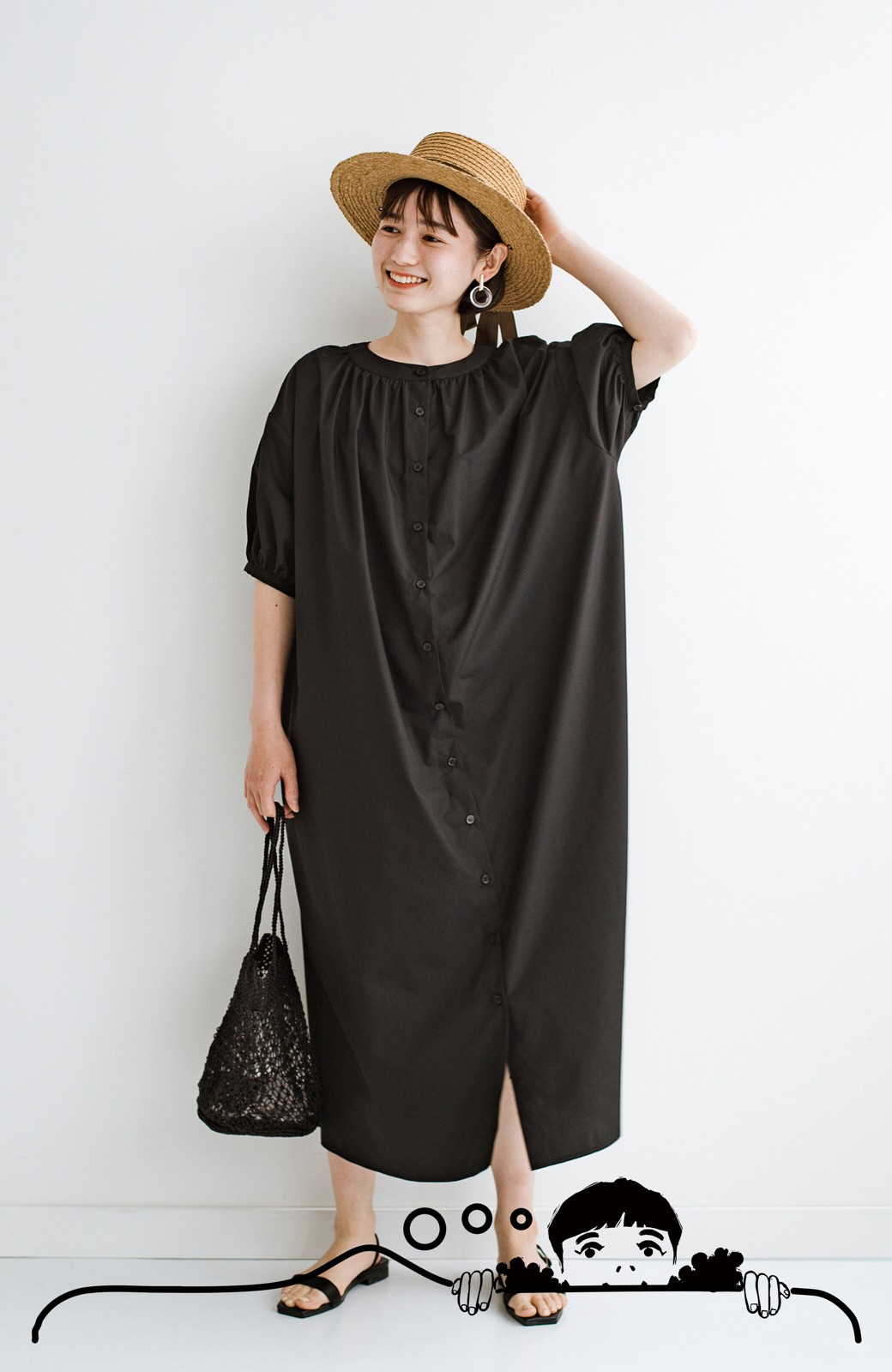 haco! 前後で着られて羽織りとしても便利! いつものパンツに重ねて着まわし上手になれるシャツワンピースby who made me <ブラック>の商品写真11
