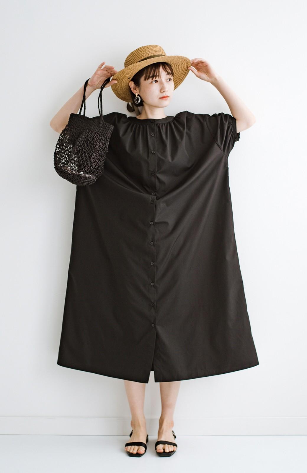 haco! 前後で着られて羽織りとしても便利! いつものパンツに重ねて着まわし上手になれるシャツワンピースby who made me <ブラック>の商品写真33