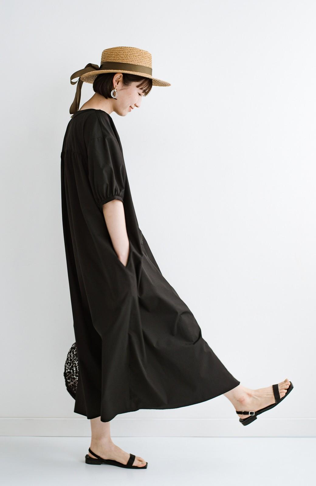 haco! 前後で着られて羽織りとしても便利! いつものパンツに重ねて着まわし上手になれるシャツワンピースby who made me <ブラック>の商品写真34