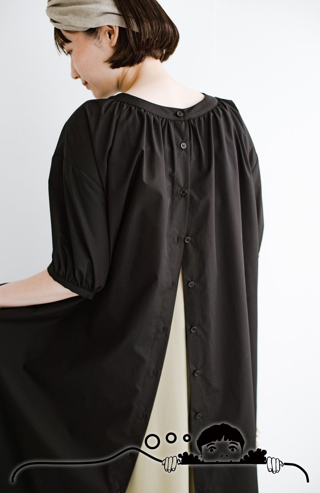 haco! 前後で着られて羽織りとしても便利! いつものパンツに重ねて着まわし上手になれるシャツワンピースby who made me <ブラック>の商品写真21