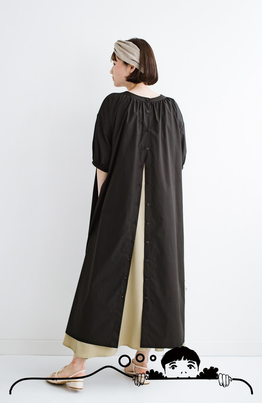 haco! 前後で着られて羽織りとしても便利! いつものパンツに重ねて着まわし上手になれるシャツワンピースby who made me <ブラック>の商品写真20