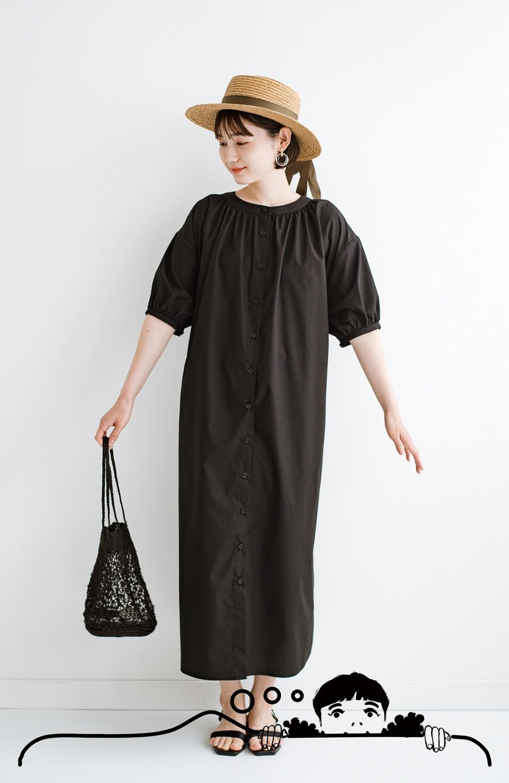 haco! 前後で着られて羽織りとしても便利! いつものパンツに重ねて着まわし上手になれるシャツワンピースby who made me <ブラック>の商品写真15