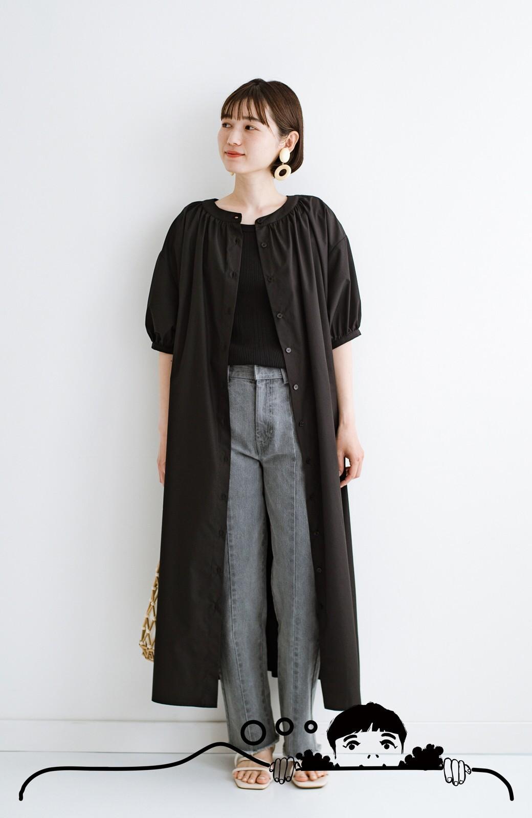 haco! 前後で着られて羽織りとしても便利! いつものパンツに重ねて着まわし上手になれるシャツワンピースby who made me <ブラック>の商品写真18