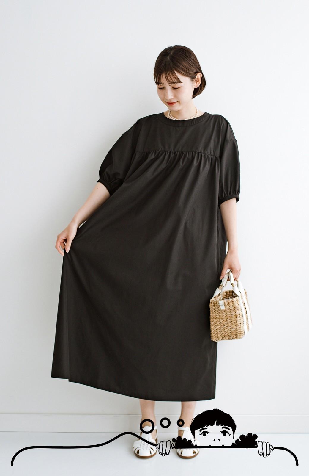 haco! 前後で着られて羽織りとしても便利! いつものパンツに重ねて着まわし上手になれるシャツワンピースby who made me <ブラック>の商品写真3