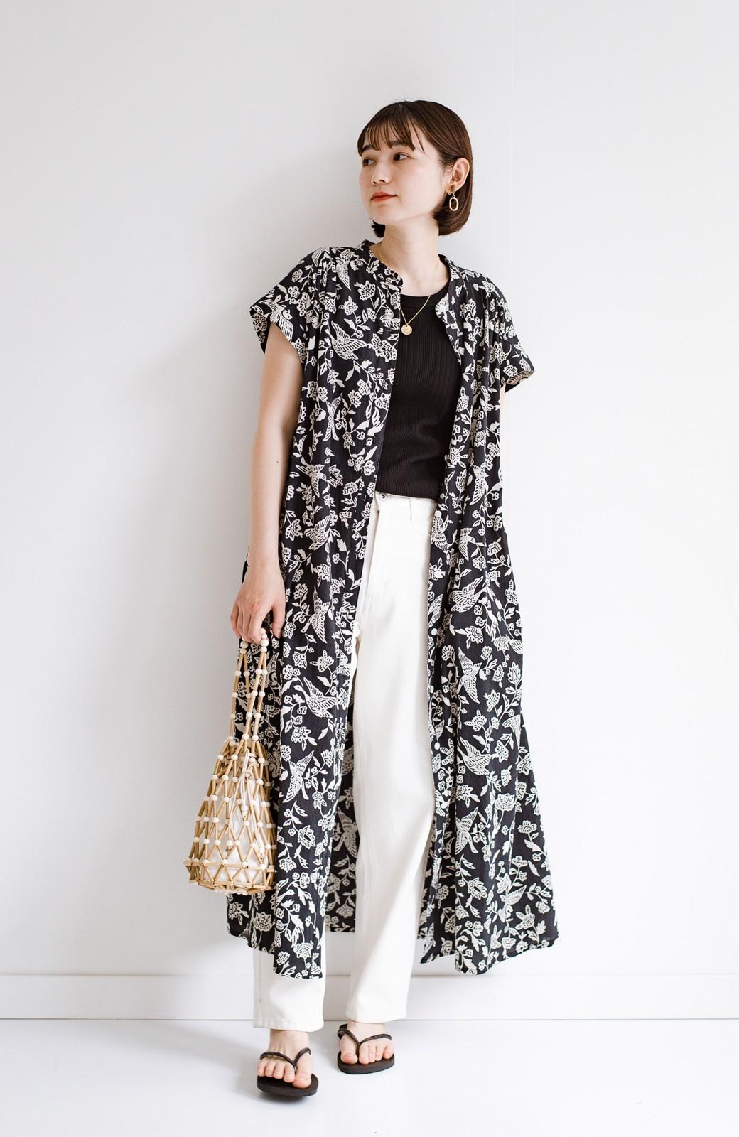 haco! 京都の浴衣屋さんと作った浴衣生地の羽織ってもかわいいロングワンピース <ブラック系その他>の商品写真15