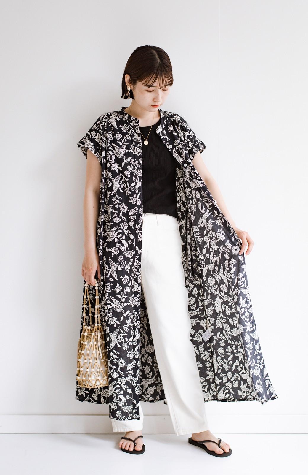 haco! 京都の浴衣屋さんと作った浴衣生地の羽織ってもかわいいロングワンピース <ブラック系その他>の商品写真16
