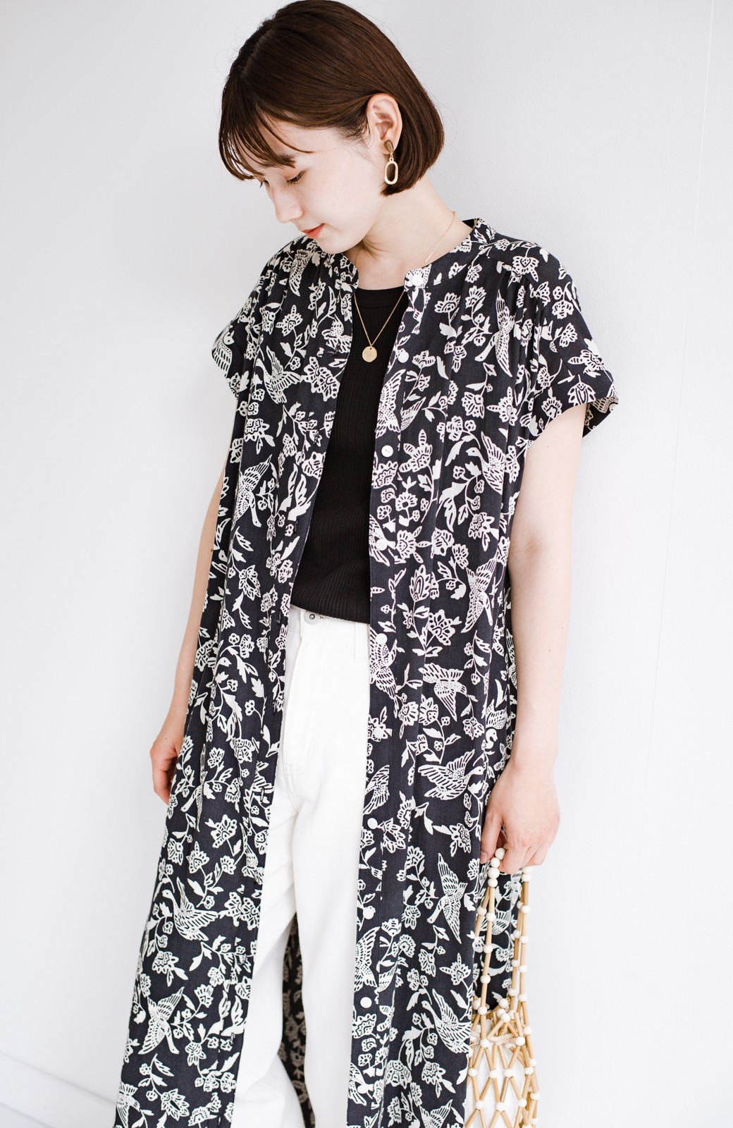 haco! 京都の浴衣屋さんと作った浴衣生地の羽織ってもかわいいロングワンピース <ブラック系その他>の商品写真6