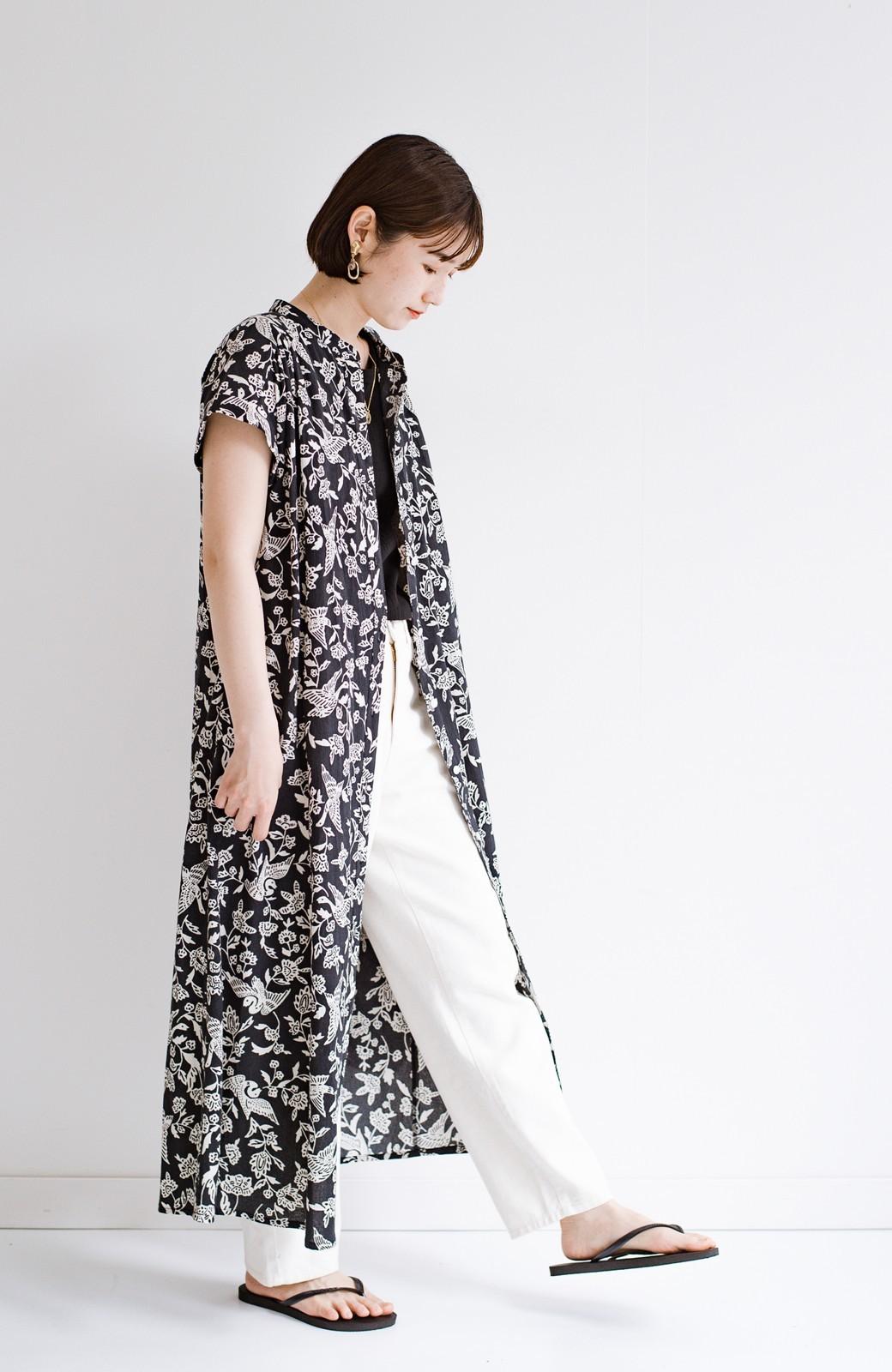 haco! 京都の浴衣屋さんと作った浴衣生地の羽織ってもかわいいロングワンピース <ブラック系その他>の商品写真19