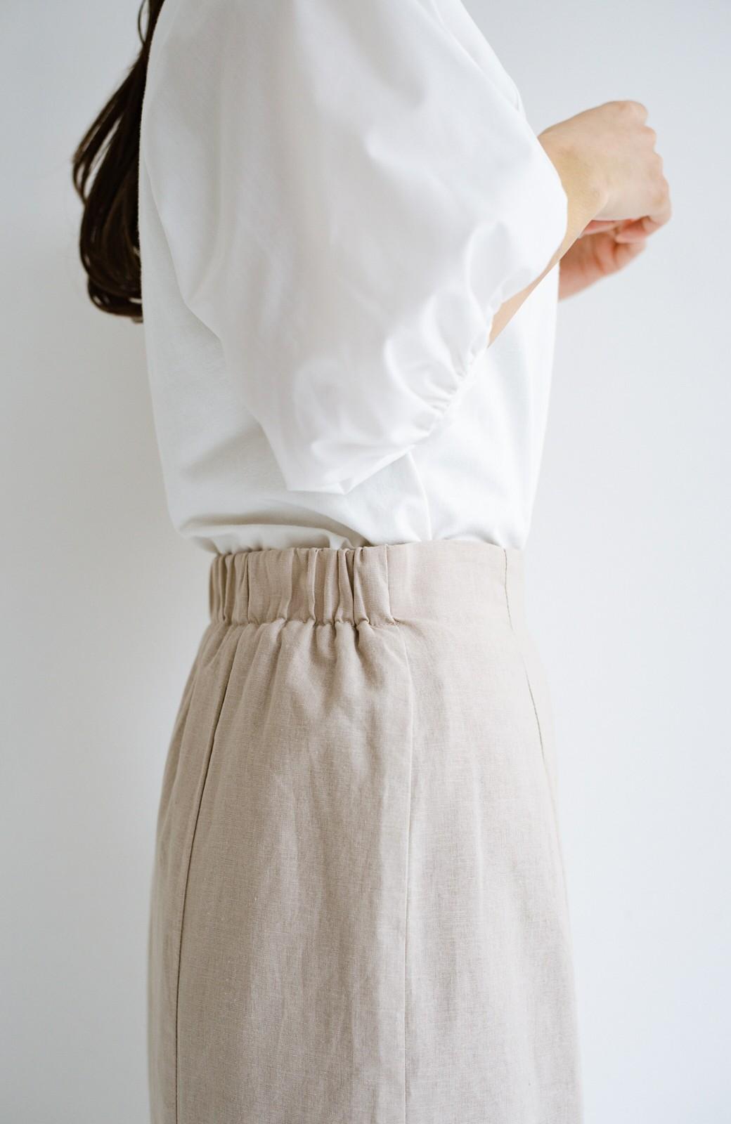 haco! Tシャツと合わせるだけでコーデが決まる!楽して女っぽが叶う麻混マーメイドスカート by que made me <ベージュ>の商品写真5