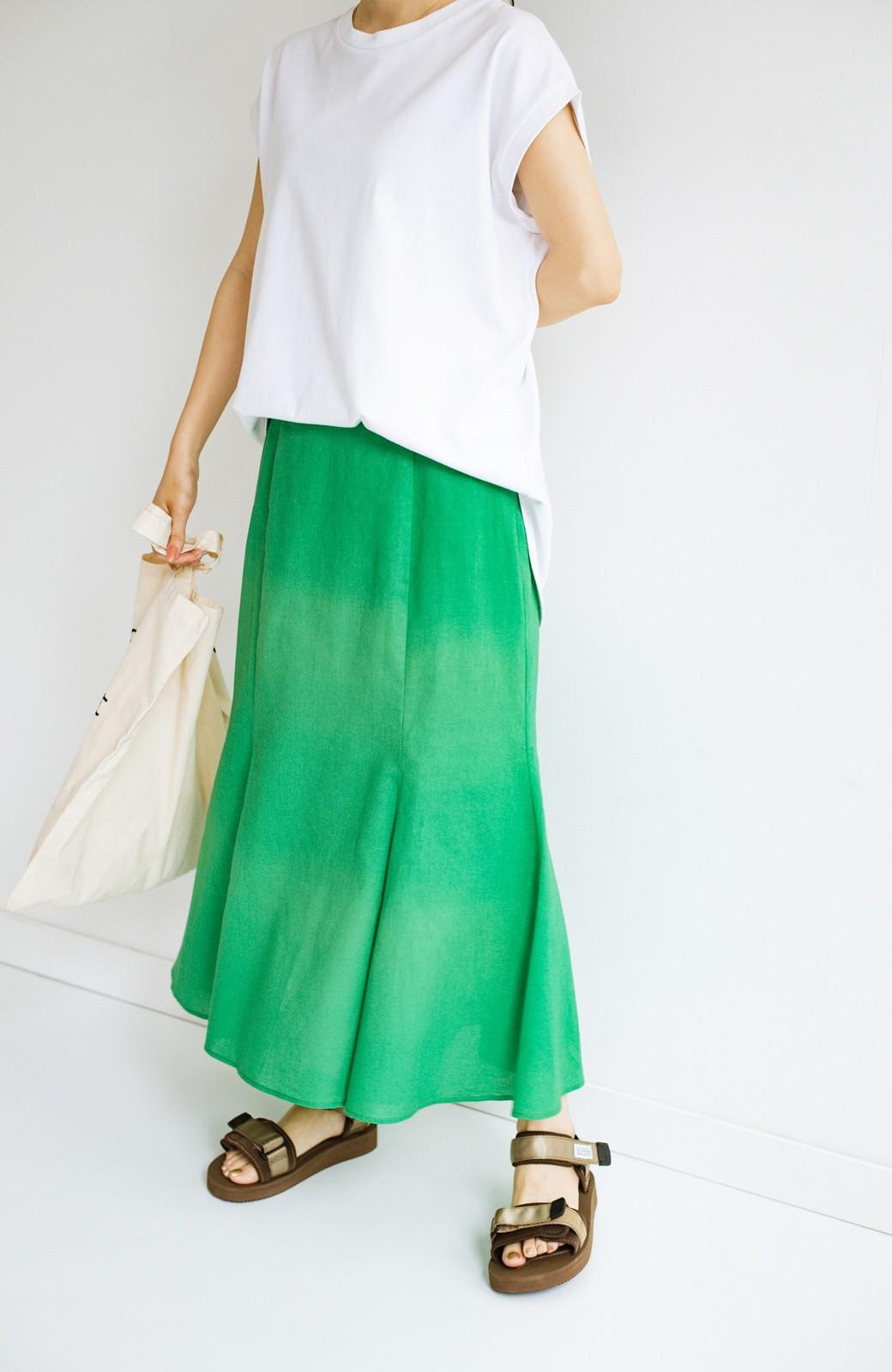 haco! Tシャツと合わせるだけでコーデが決まる!楽して女っぽが叶う麻混マーメイドスカート by que made me <グリーン>の商品写真11
