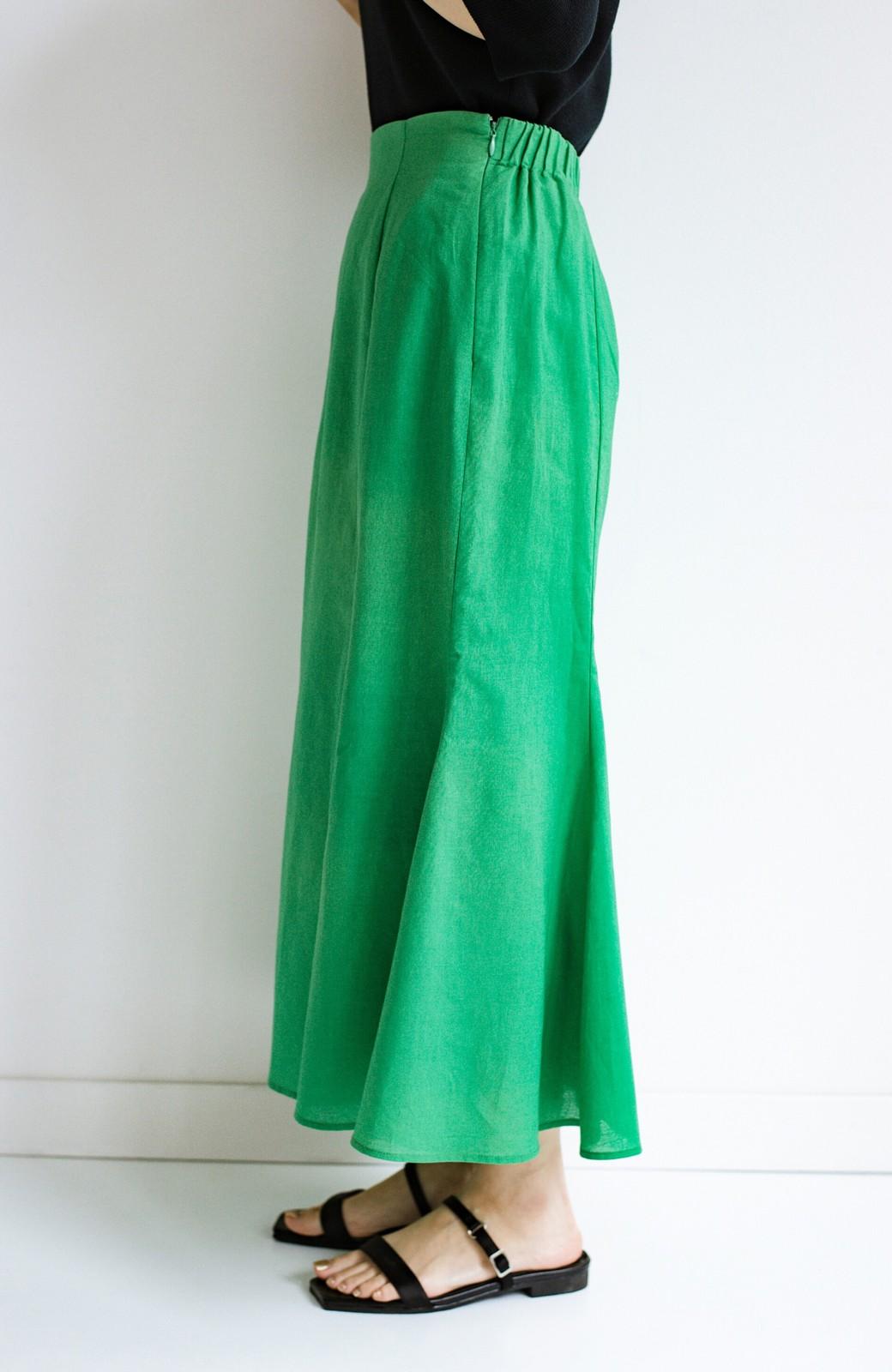 haco! Tシャツと合わせるだけでコーデが決まる!楽して女っぽが叶う麻混マーメイドスカート by que made me <グリーン>の商品写真4