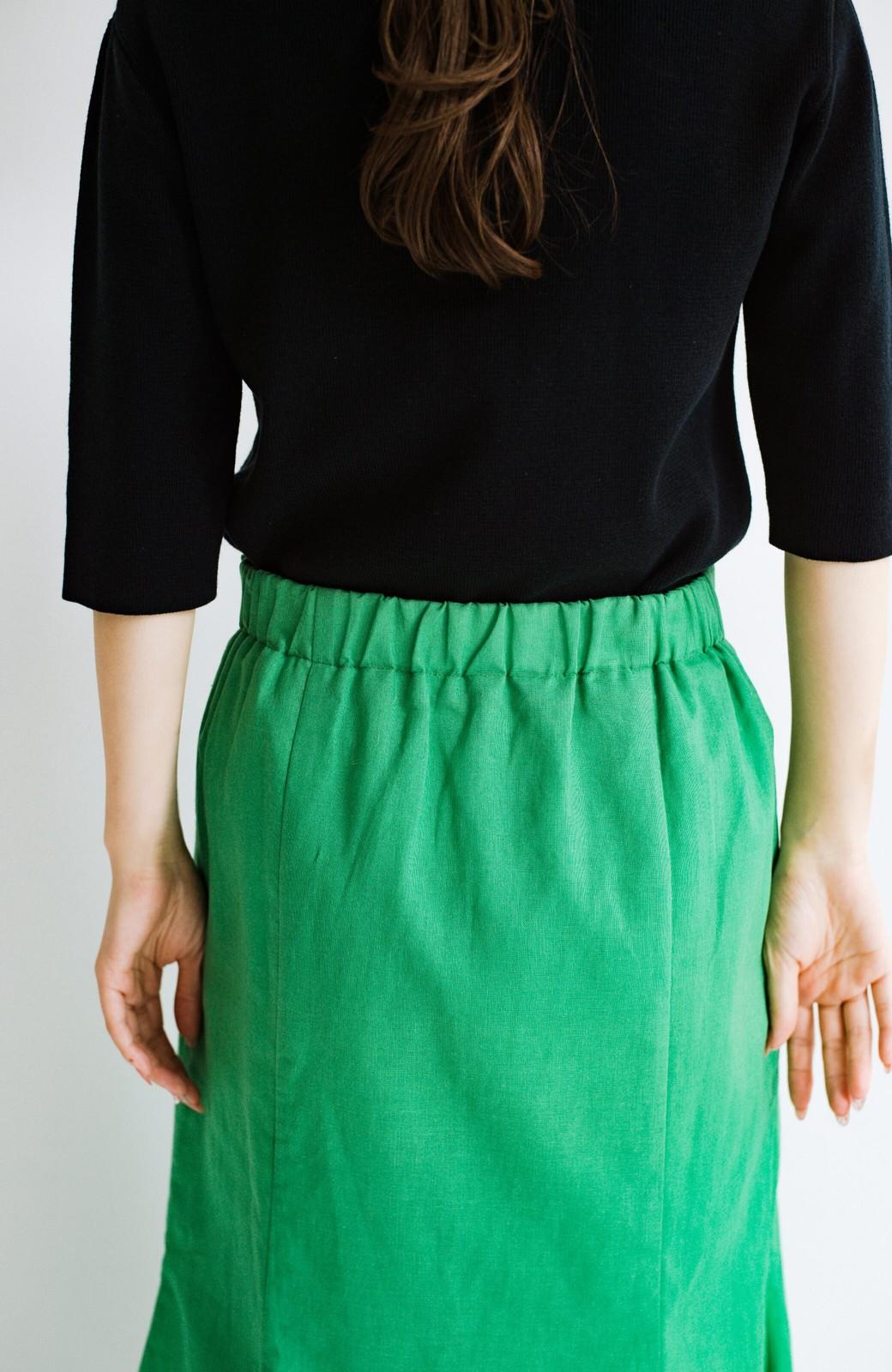 haco! Tシャツと合わせるだけでコーデが決まる!楽して女っぽが叶う麻混マーメイドスカート by que made me <グリーン>の商品写真9