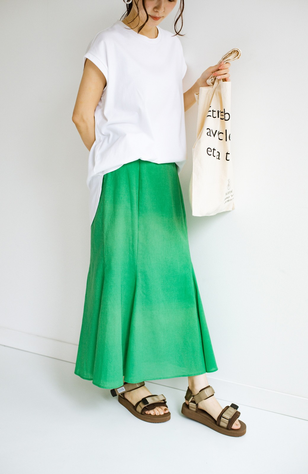 haco! Tシャツと合わせるだけでコーデが決まる!楽して女っぽが叶う麻混マーメイドスカート by que made me <グリーン>の商品写真10