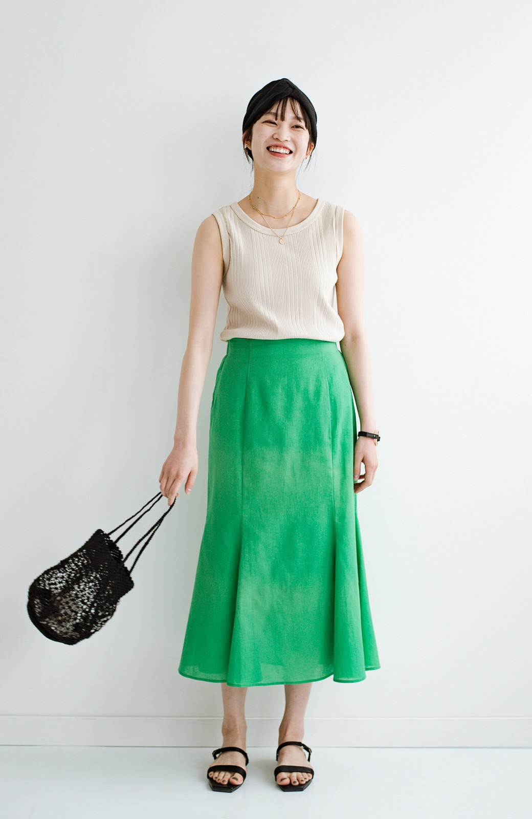 haco! Tシャツと合わせるだけでコーデが決まる!楽して女っぽが叶う麻混マーメイドスカート by que made me <グリーン>の商品写真13