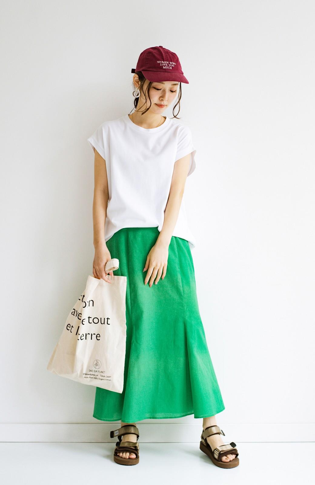haco! Tシャツと合わせるだけでコーデが決まる!楽して女っぽが叶う麻混マーメイドスカート by que made me <グリーン>の商品写真18