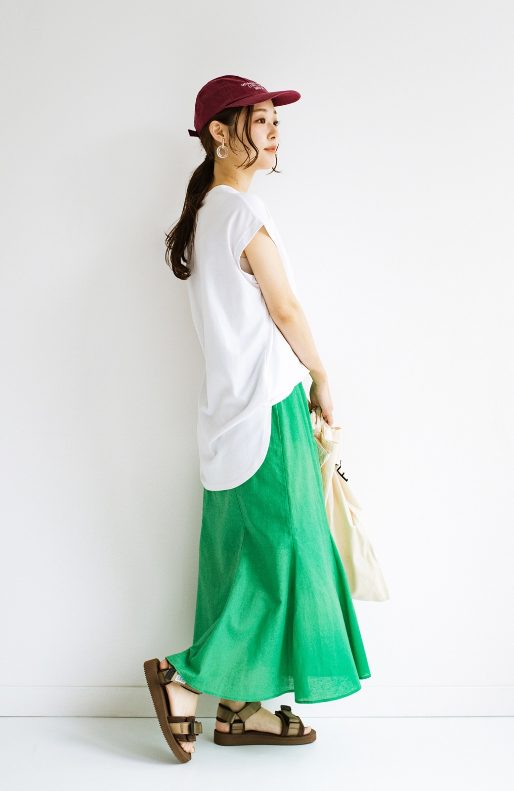 haco! Tシャツと合わせるだけでコーデが決まる!楽して女っぽが叶う麻混マーメイドスカート by que made me <グリーン>の商品写真22