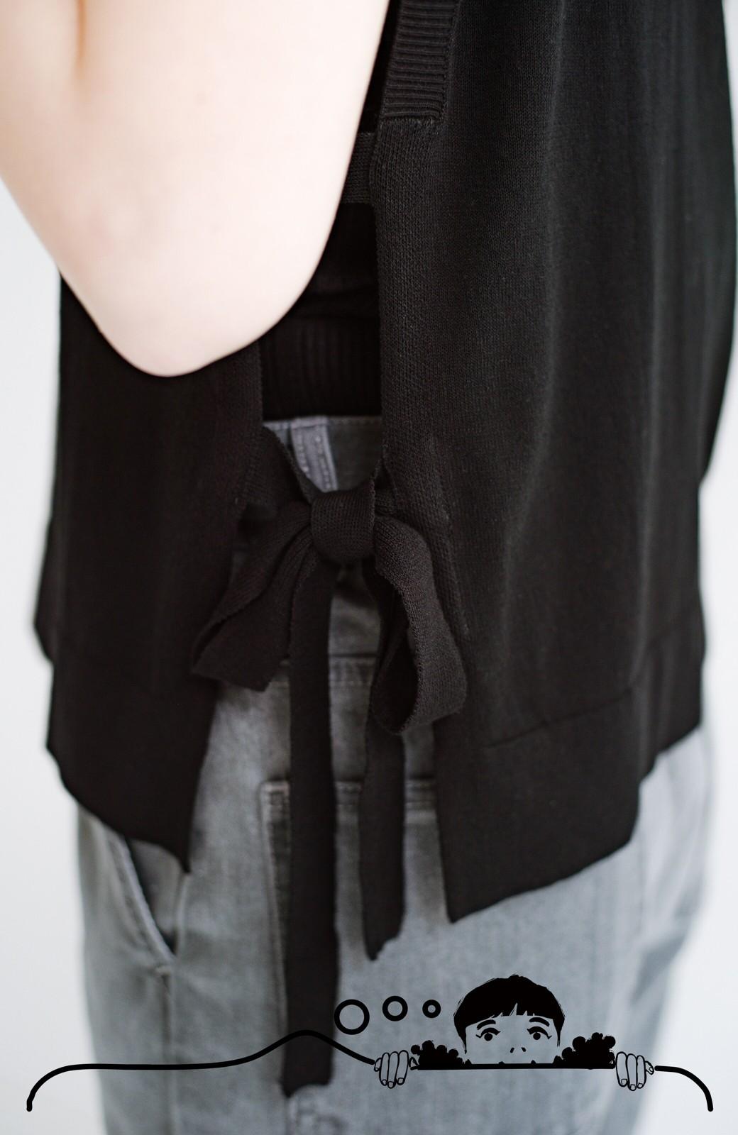 haco! さっと着てこなれて見える シアー素材が涼しげなニットベストby who made me <ブラック>の商品写真9